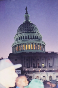 Million Man March, 1995. At the Nation's Capitol for early morning prayers.